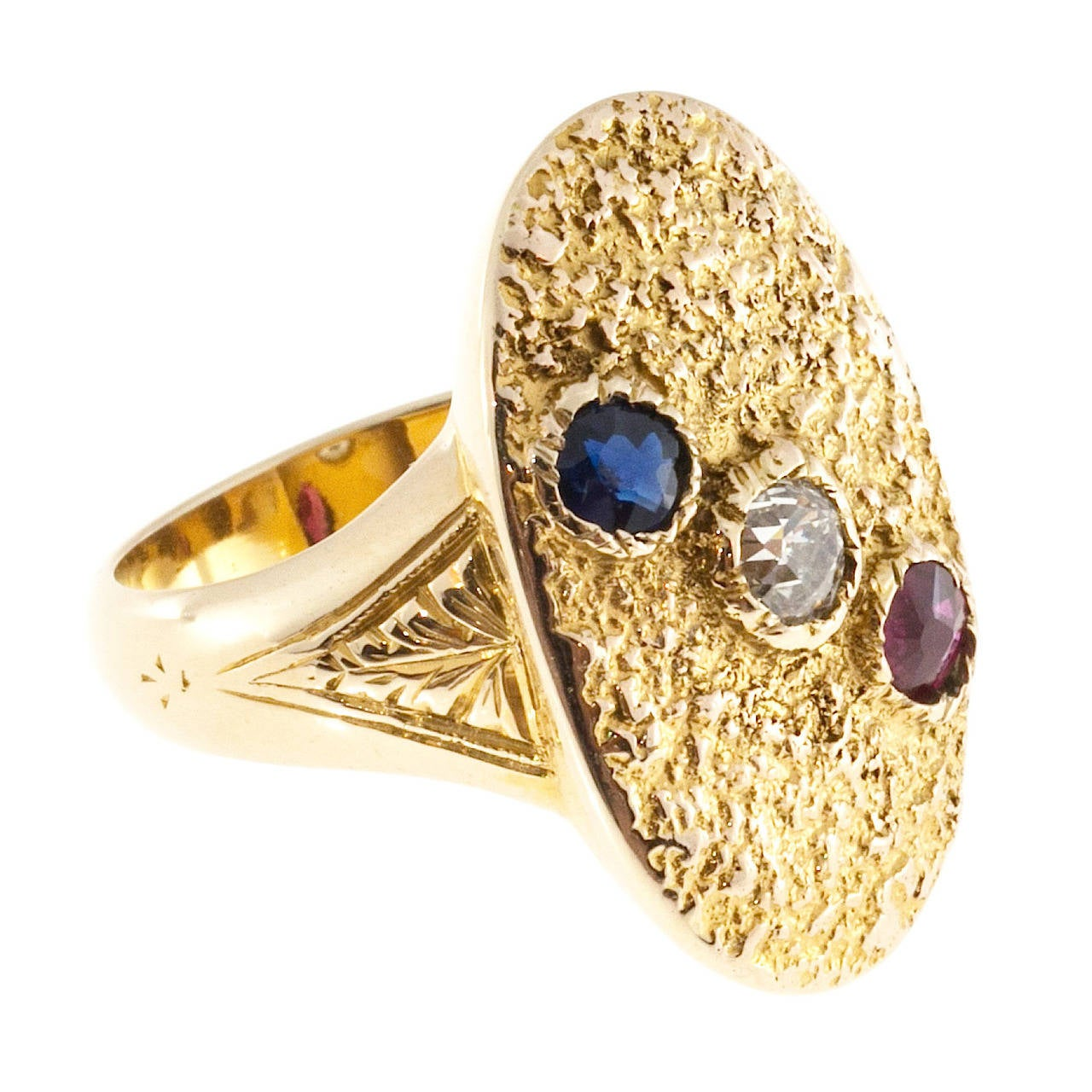 Victorian Ruby Sapphire Diamond Gold Textured Signet Ring