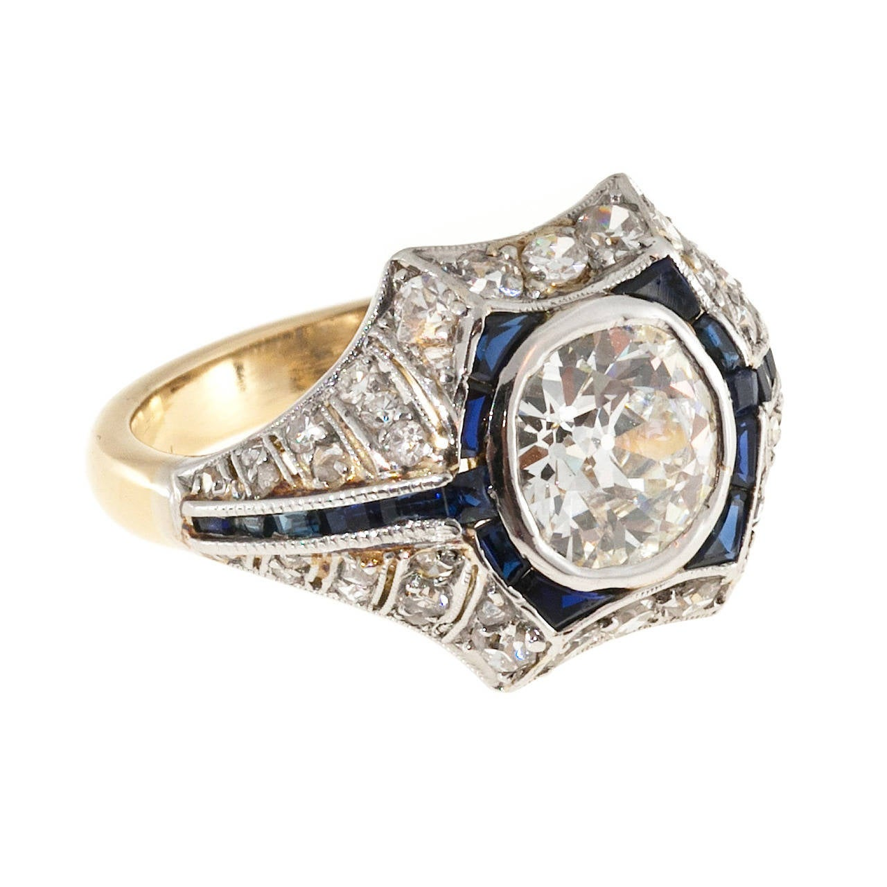 sapphire gold platinum engagement ring for sale at