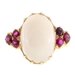 Moonstone Ruby Gold Ring