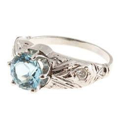 Aquamarine Diamond Engraved Filigree Gold Ring