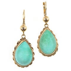 Natural Turquoise Pink Gold Dangle Earrings
