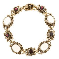 Victorian Revival Blue Oval Moonstone Garnet Gold  Bracelet