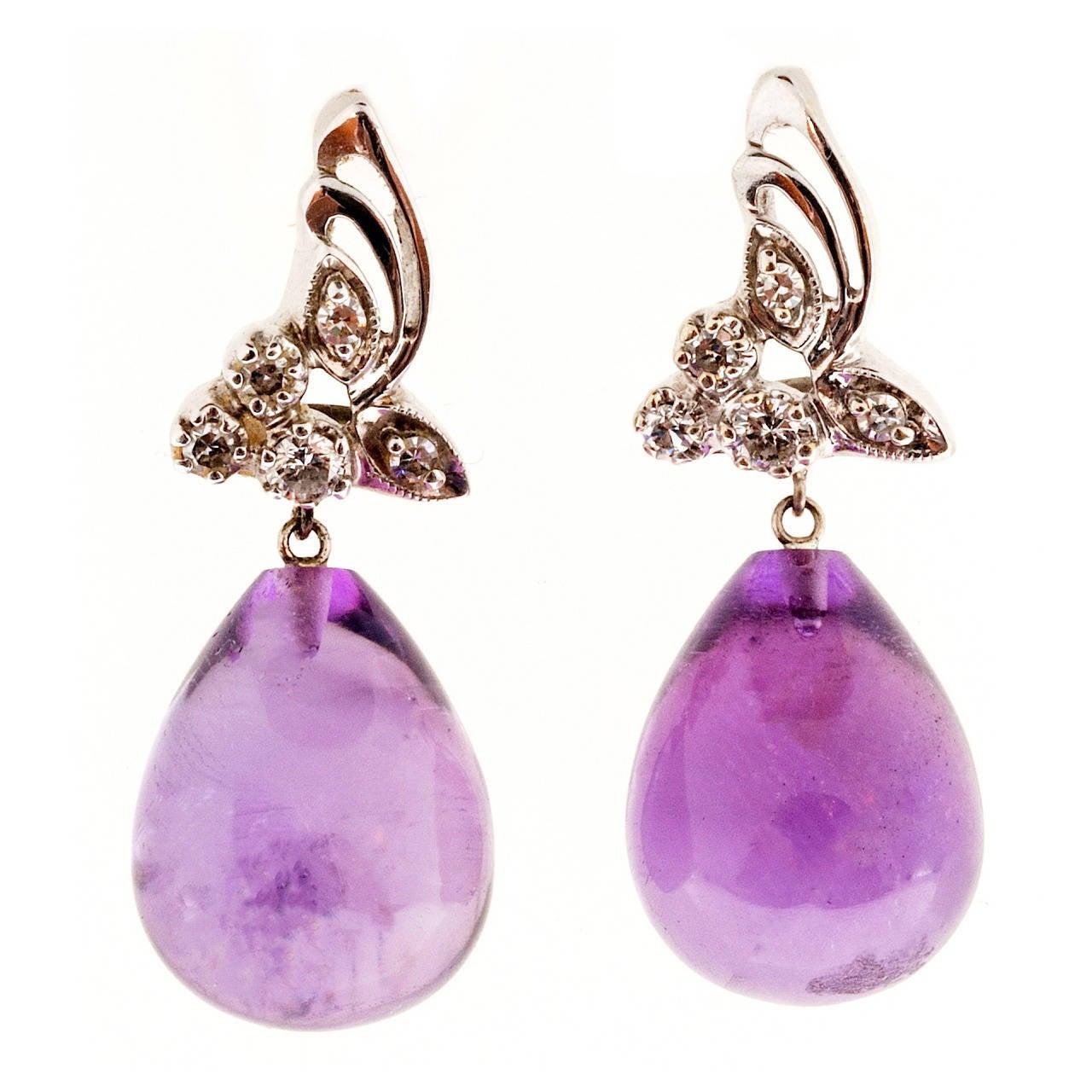 Amethyst Tear Drop Diamond Gold Dangle Earrings