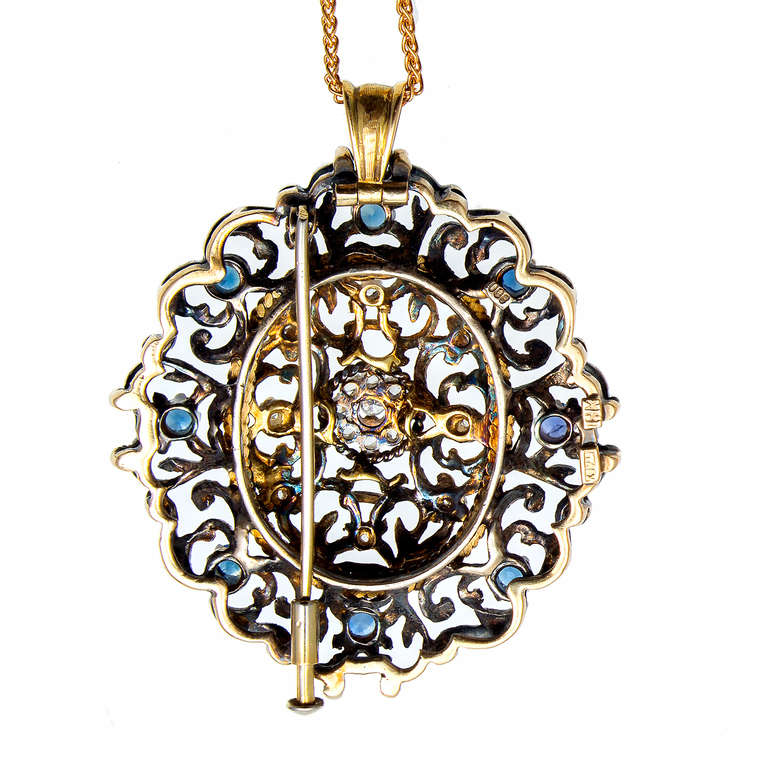 1920s Victorian Revival Sapphire Diamond Silver Gold Brooch Pendant For Sale 1