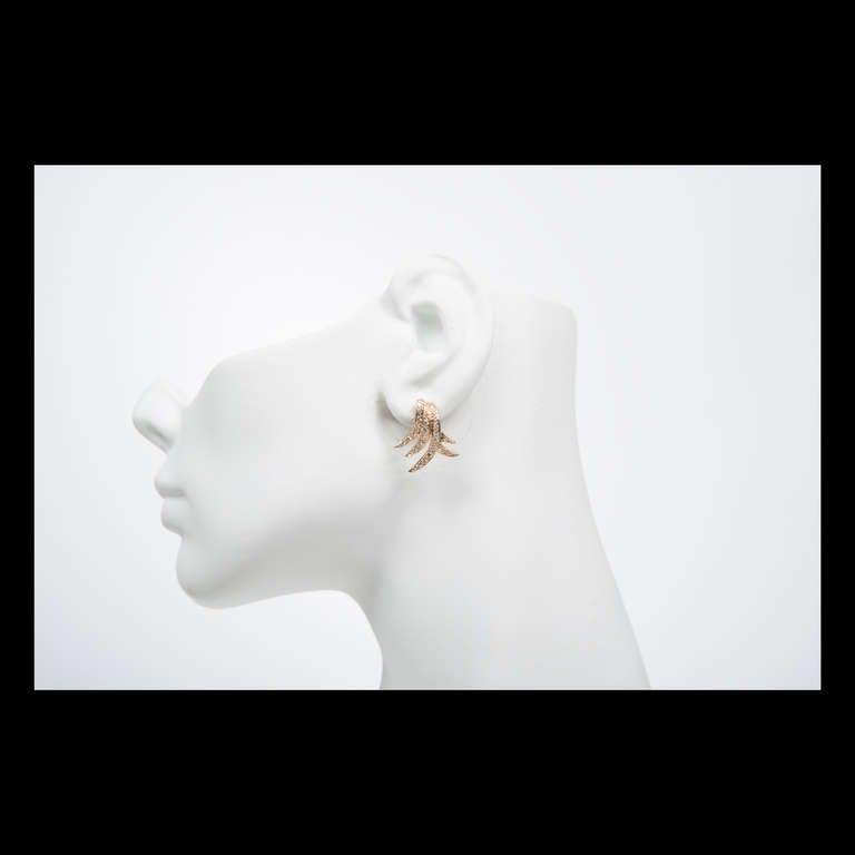 Women's Pave Diamond Gold Swirl Earrings For Sale