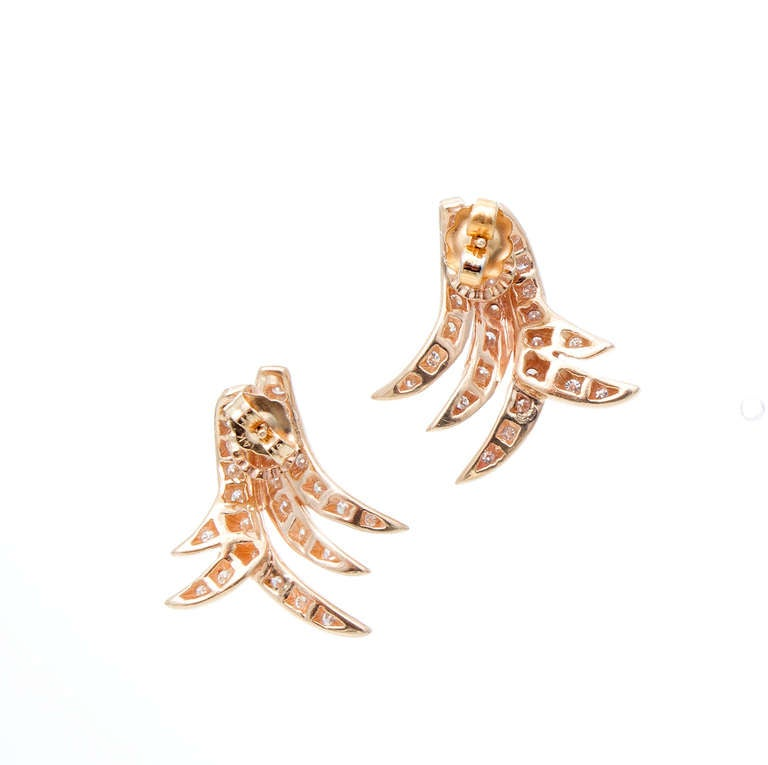14k Gold Swirl Design Pave Set 52 Round Diamond Pierced Earrings.    52 round diamonds approx. total weight 1.04cts, G, VS.  Tested 14k.  7.5 grams.  7/8 x 13/16 inch.
