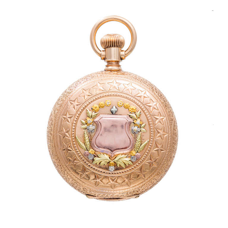 Agassiz Rose, Yellow and Green Gold Pocket Watch with Diamond and Ruby Accents 10
