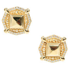 Diamond Textured Eustrician Style Gold Clip Post Earrings