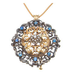 1920s Victorian Revival Sapphire Diamond Silver Gold Brooch Pendant