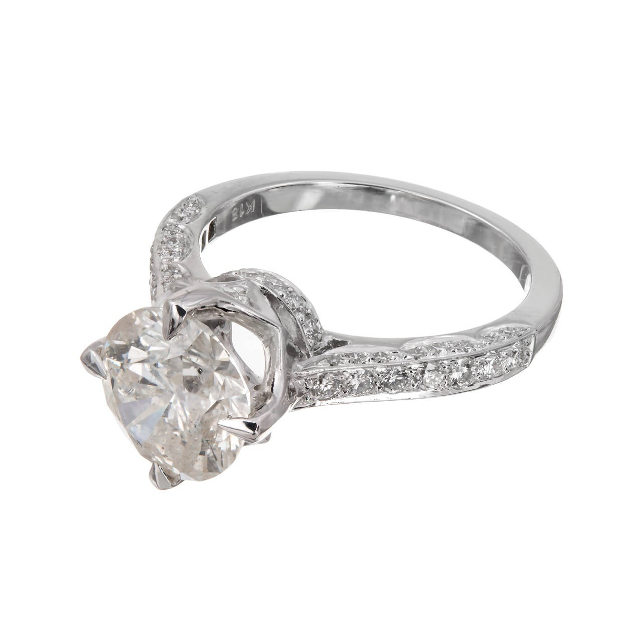 Round Cut 2.51 Carat Round Diamond Gold Solitaire Engagement Ring For Sale