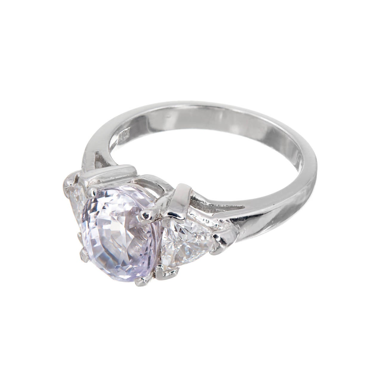 Purple Sapphire Diamond Three Stone Engagement Ring For Sale at 1stdibs
