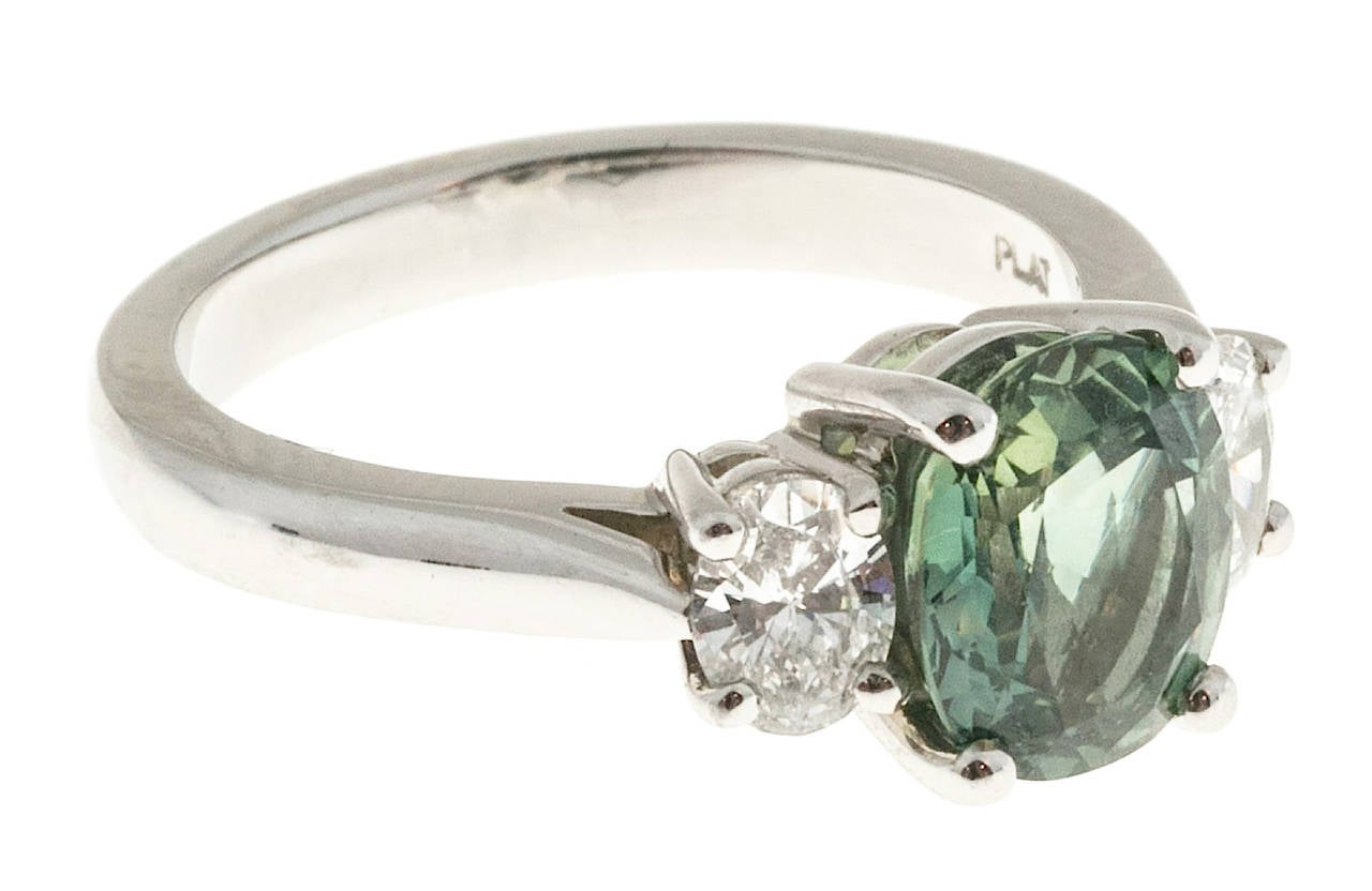 Peter Suchy Green Sapphire Diamond Three Stone Platinum Engagement Ring 4