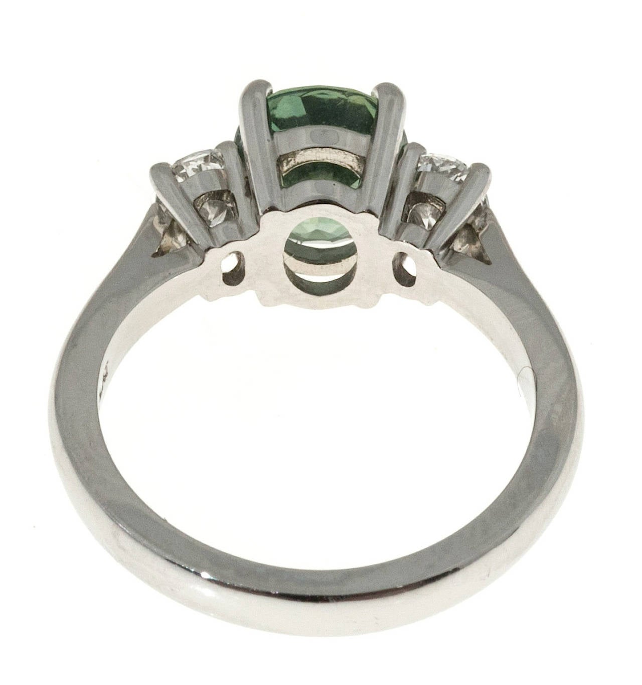 Peter Suchy Green Sapphire Diamond Three Stone Platinum Engagement Ring 7