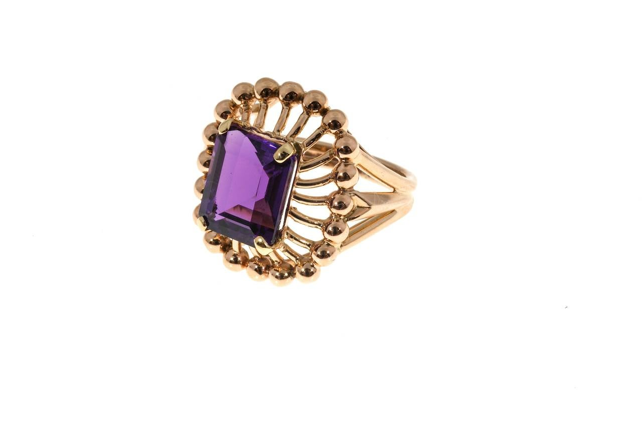 Women's Emerald Cut Amethyst Rose Gold Ring For Sale
