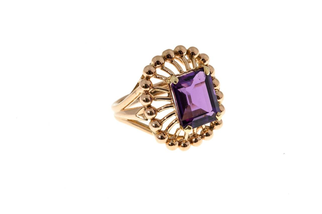Emerald Cut Amethyst Rose Gold Ring For Sale 1