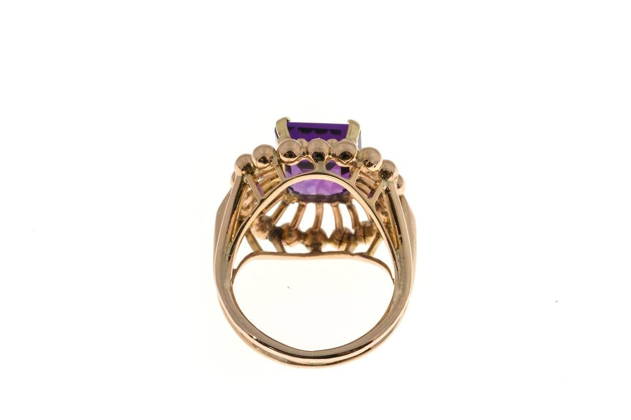 Emerald Cut Amethyst Rose Gold Ring For Sale 2