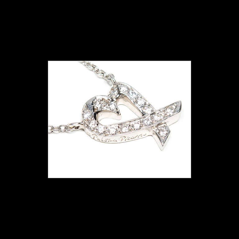 Tiffany & Co Paloma Picasso Diamond Heart Platinum Pendant Necklace  In Good Condition For Sale In Stamford, CT