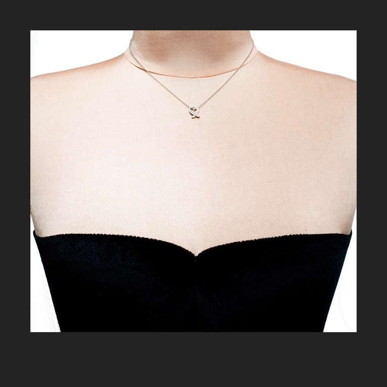Women's Tiffany & Co Paloma Picasso Diamond Heart Platinum Pendant Necklace  For Sale