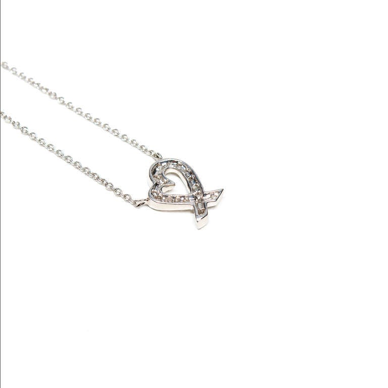 Tiffany & Co Paloma Picasso Diamond Heart Platinum Pendant Necklace  For Sale 1