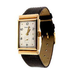 Longines Yellow Gold Rectangular Wristwatch with Hooded Lugs Retailed by Tiffany