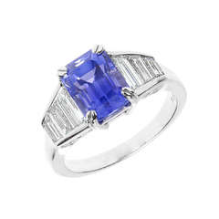 Violet Blue Sapphire And Diamond Platinum Ring