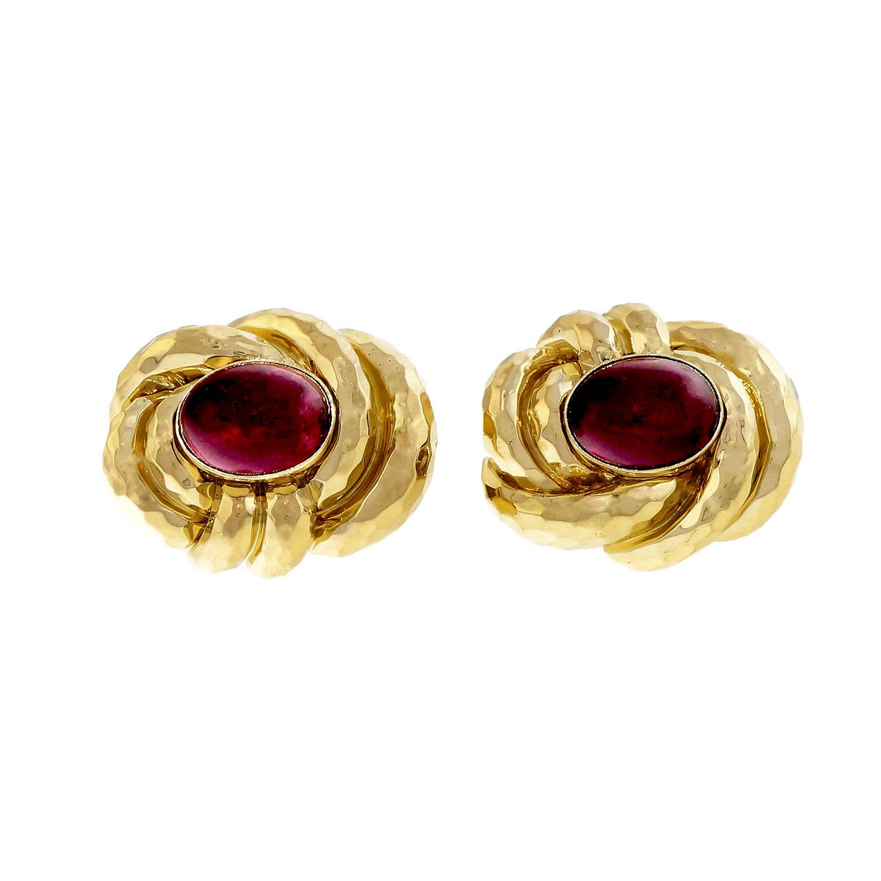 Henry Dunay Pink Tourmaline Rubellite Hammered Gold Earrings In Good Condition For Sale In Stamford, CT