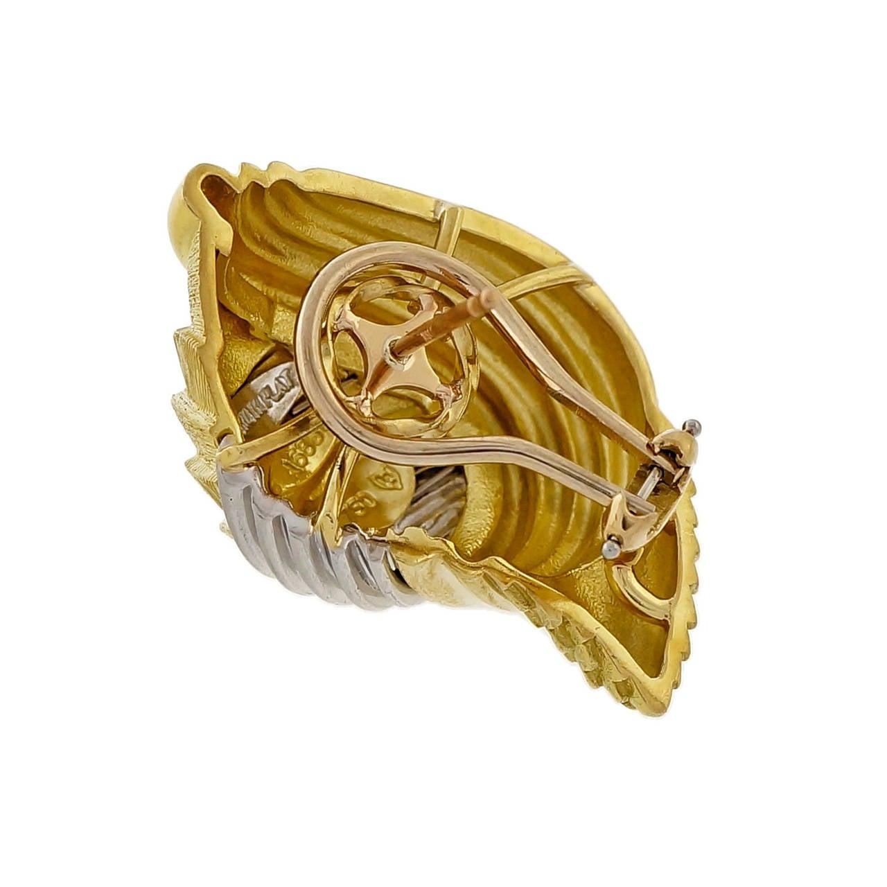Women's Henry Dunay Gold Platinum Cinnabar Shell Earrings For Sale