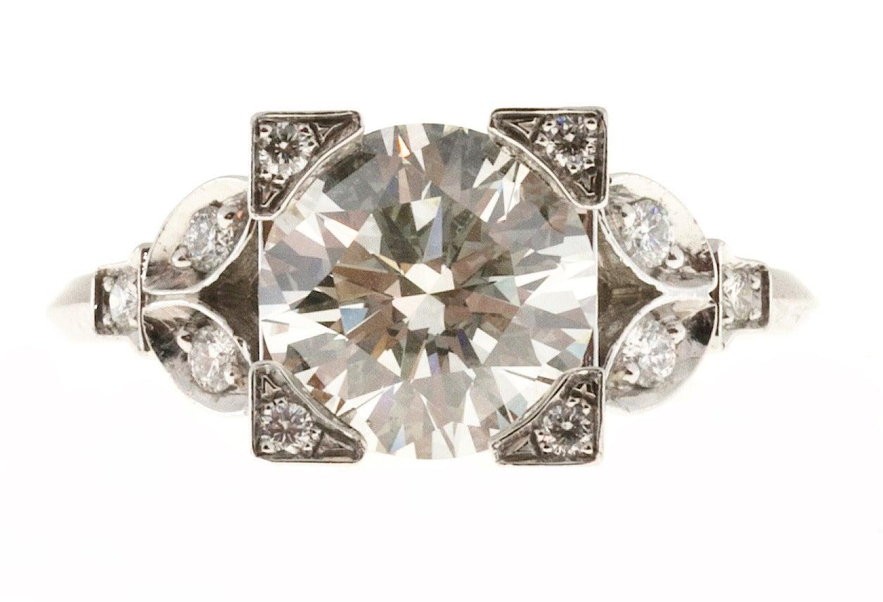 Diamond Transitional Cut Platinum Ring 3