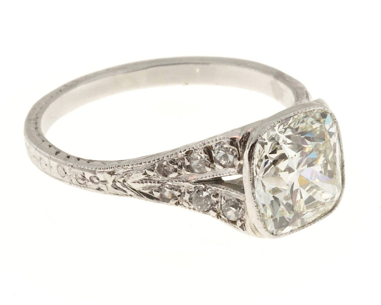 Cushion Cut 1920s Diamond Filigree Platinum Ring For Sale