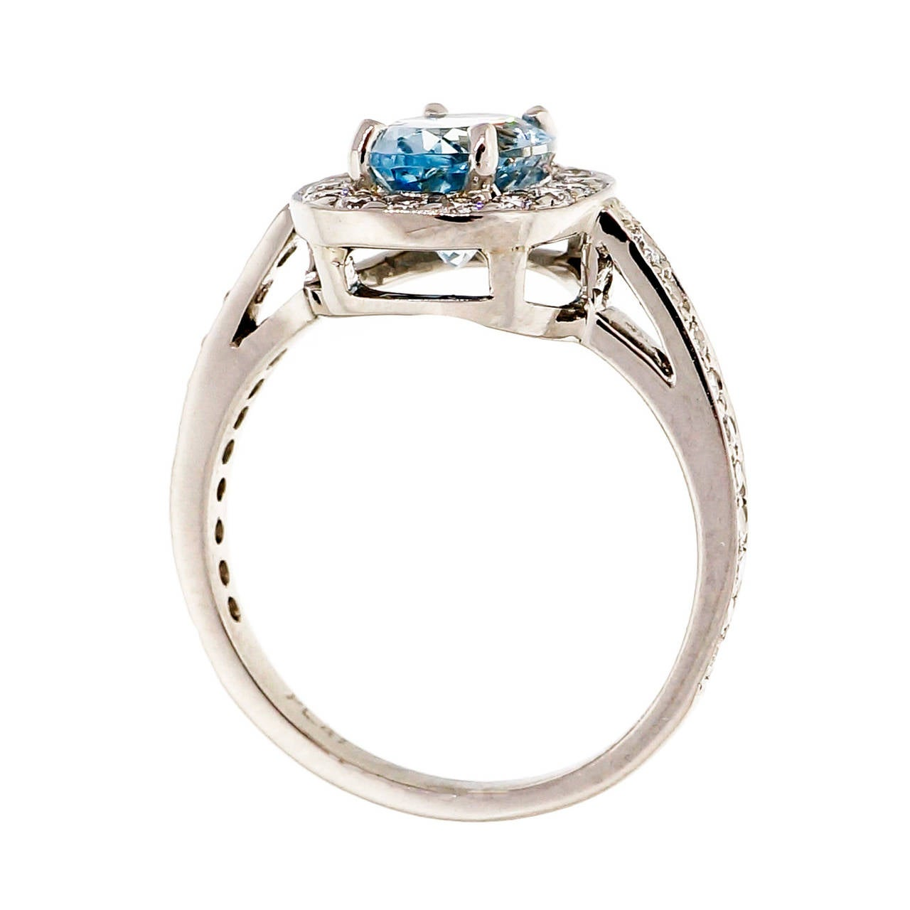 Natural Aquamarine Diamond Platinum Halo Ring For Sale 1