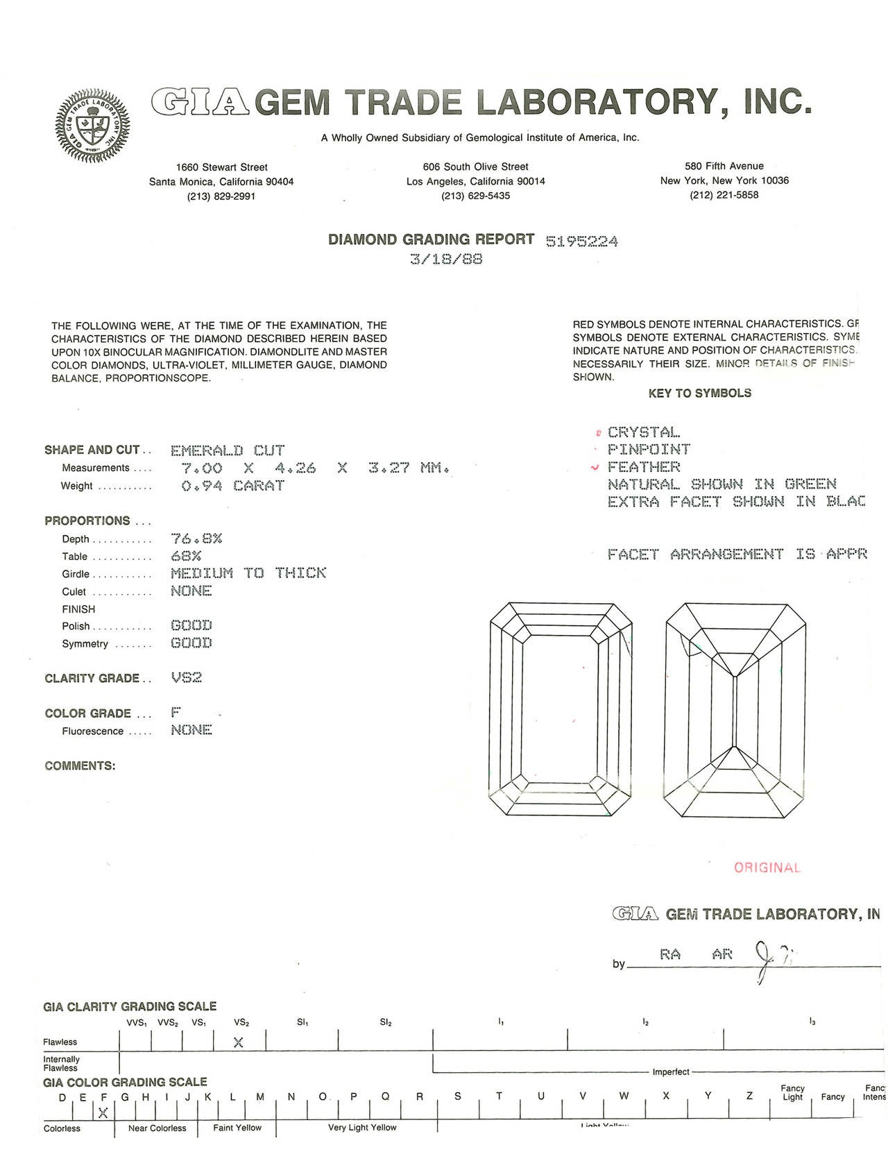GIA Certified .94 Carat Emerald Cut Diamond Platinum Engagement Ring For Sale 3