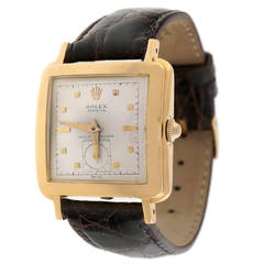 Rolex Yellow Gold Oyster Perpetual Square Bubble Back Wristwatch Ref 4643