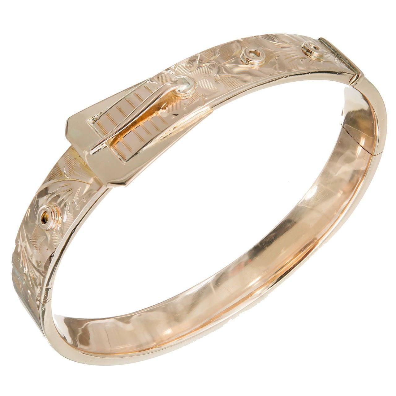 Rose Gold Buckle Hinged Bangle Bracelet For Sale At 1stdibs