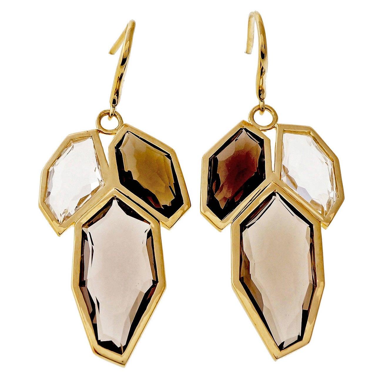 Allia Smoky Quartz Gold Dangle Earrings