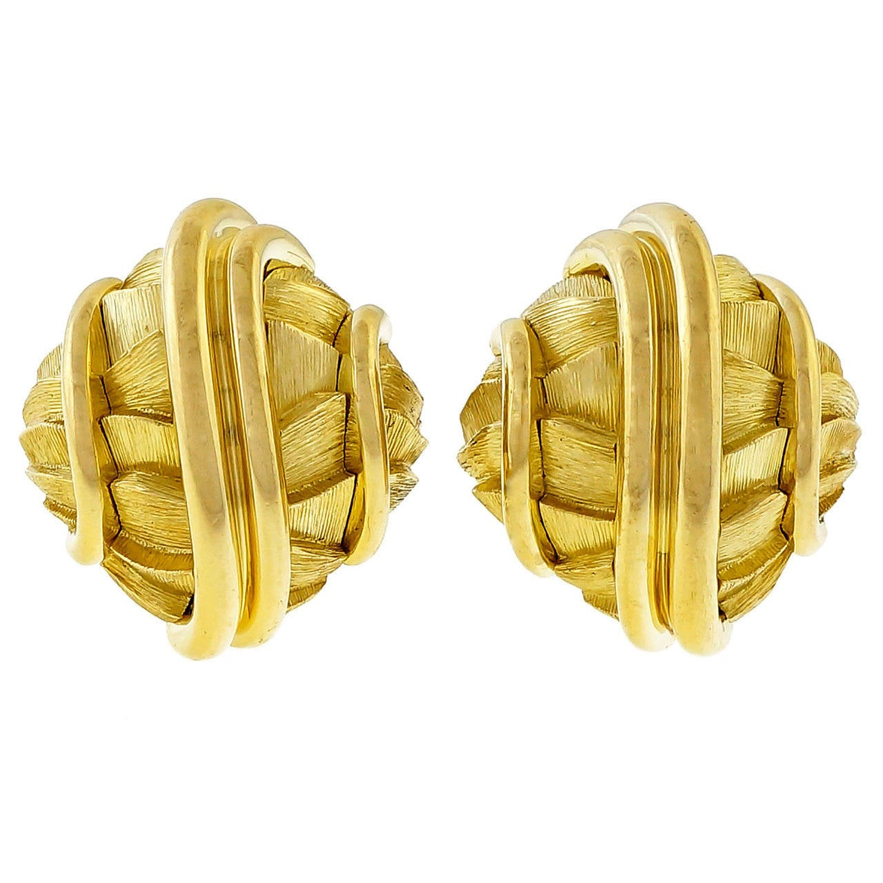 Henry Dunay Textured Gold Domed Clip Post Earrings