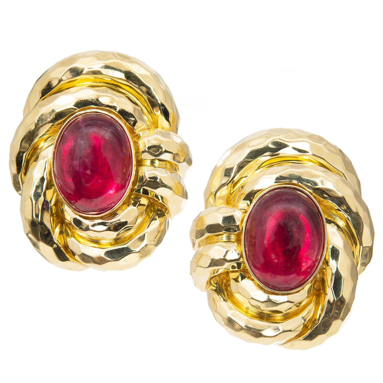 Henry Dunay Pink Tourmaline Rubellite Hammered Gold Earrings For Sale