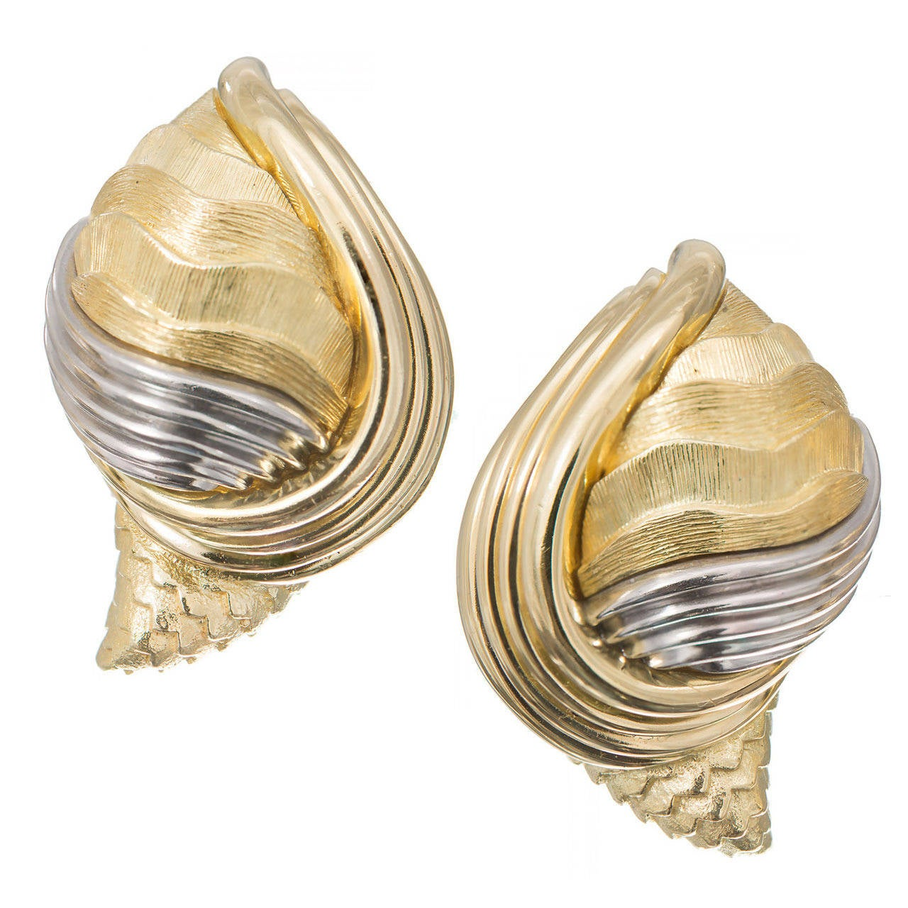 Henry Dunay Gold Platinum Cinnabar Shell Earrings For Sale