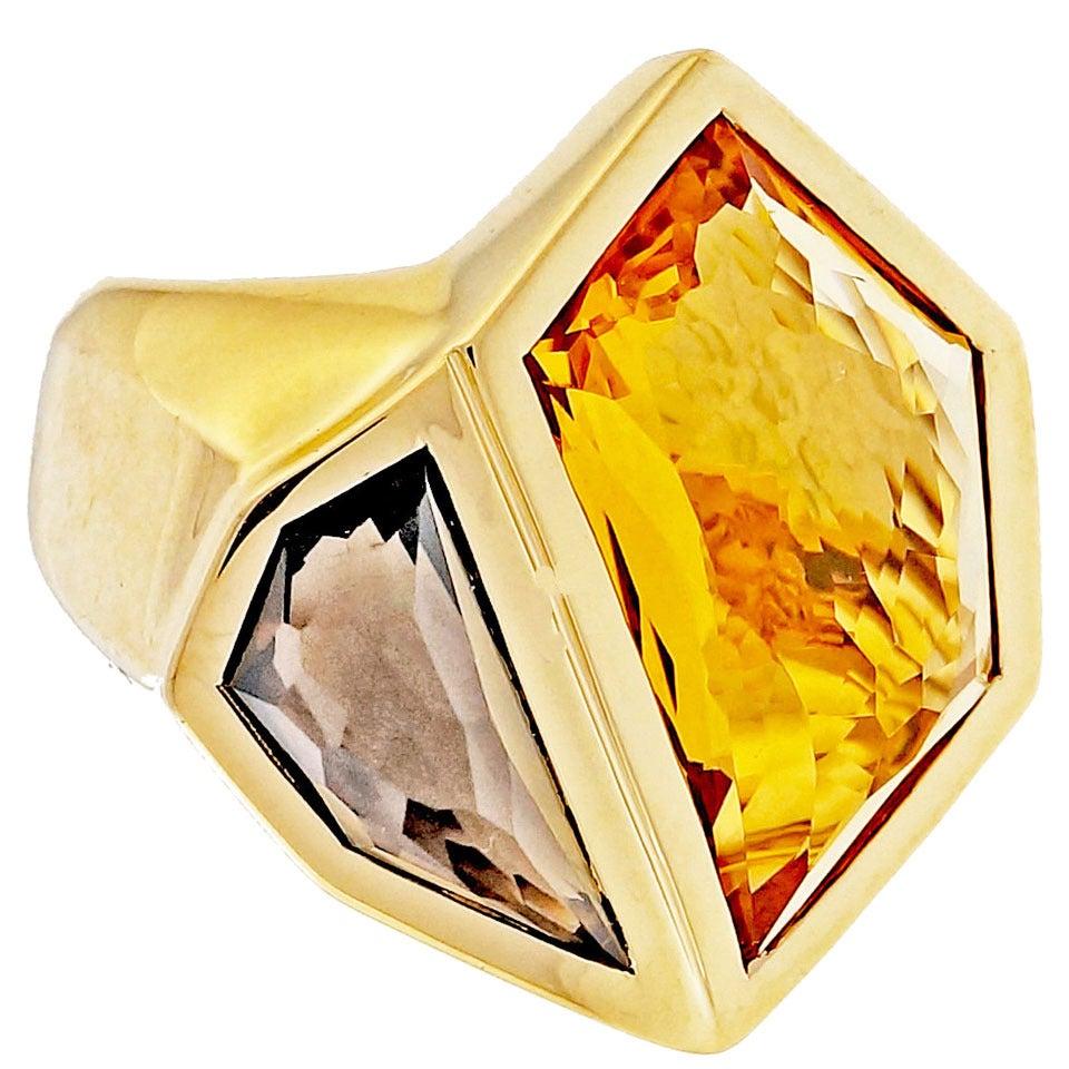 Allia Citrine Smoky Quartz Gold Cocktail Ring