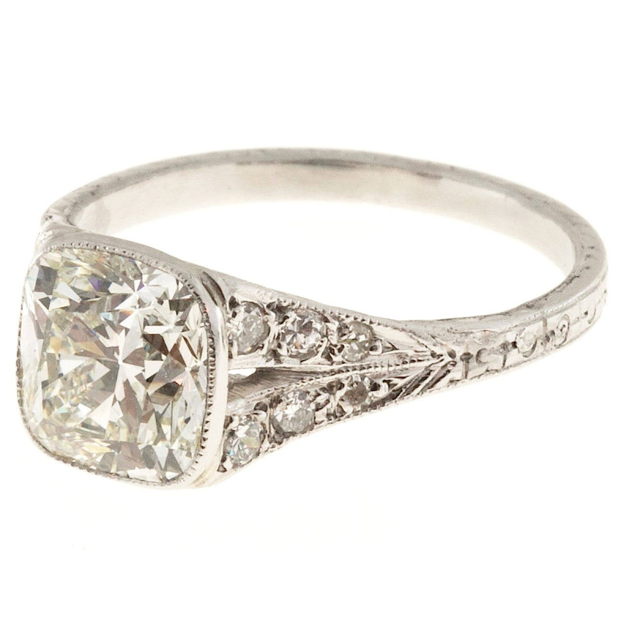1920s Diamond Filigree Platinum Ring For Sale