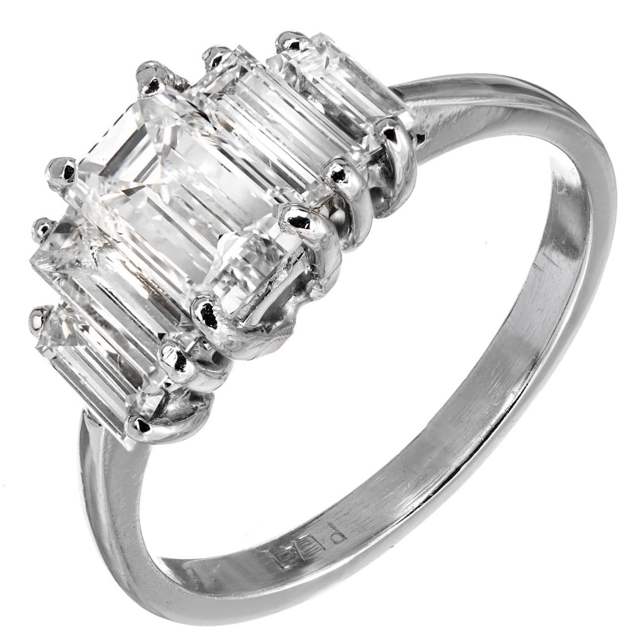 GIA Certified .94 Carat Emerald Cut Diamond Platinum Engagement Ring For Sale