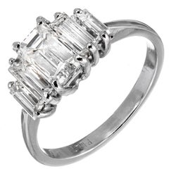 GIA Certified .94 Carat Emerald Cut Diamond Platinum Engagement Ring