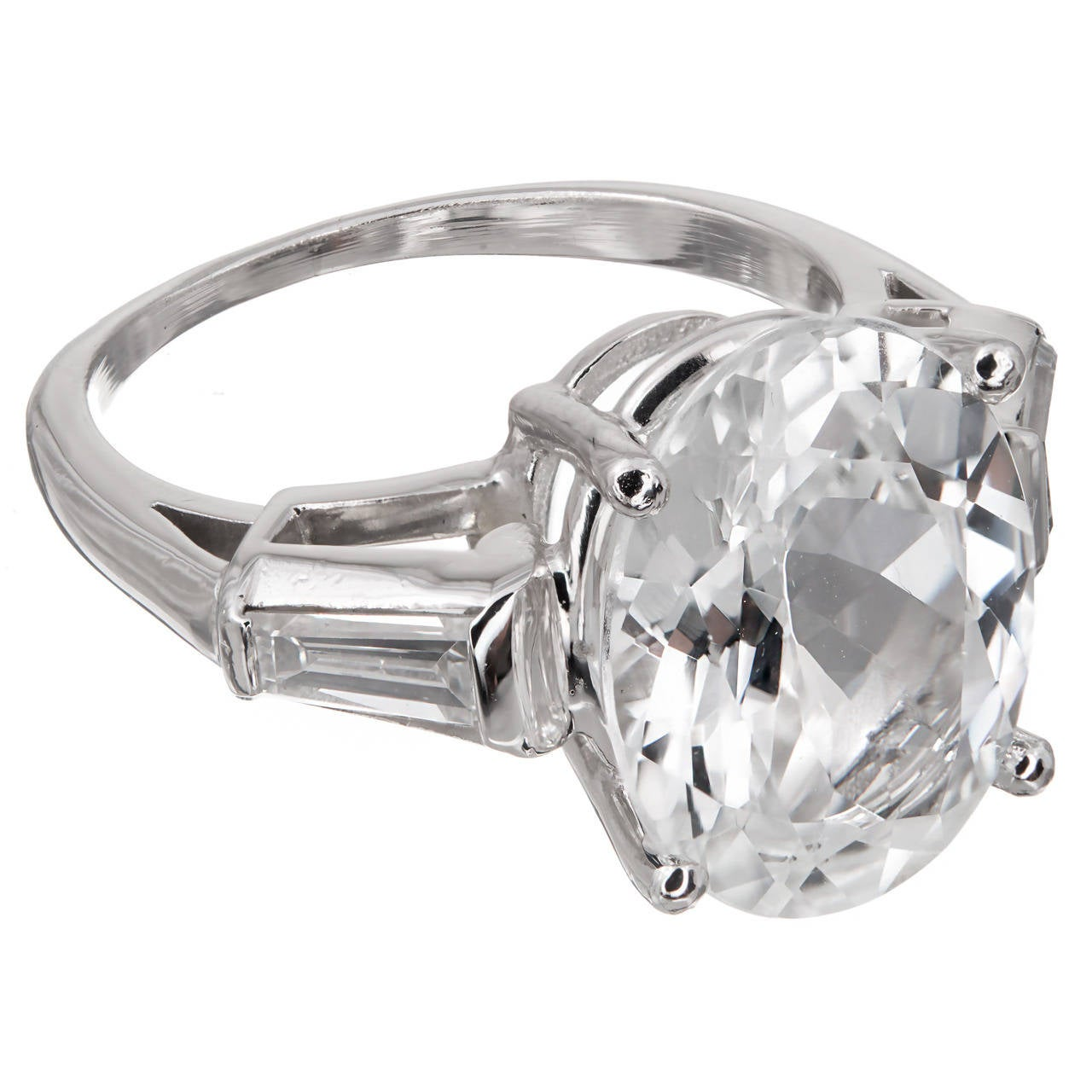 Oval White GIA Cert Sapphire Diamond Platinum Engagement Ring