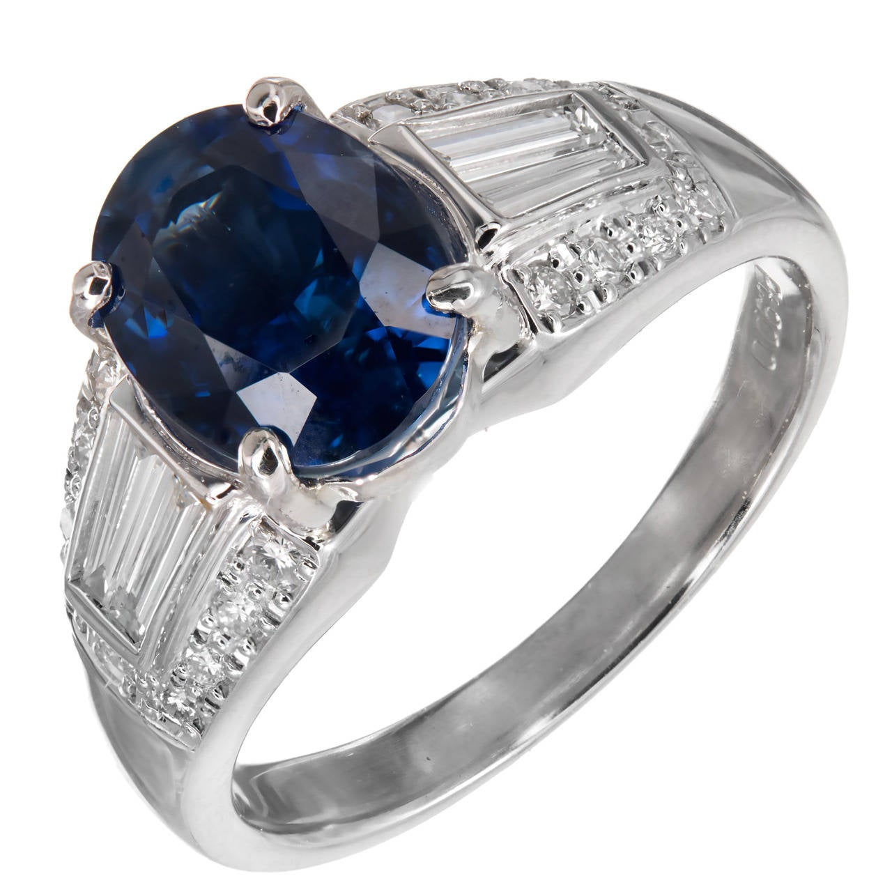 Natural Cornflower Blue Sapphire Diamond Platinum Ring