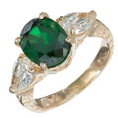 Green Tsavorite Garnet Pear Diamond Gold Three Stone Ring