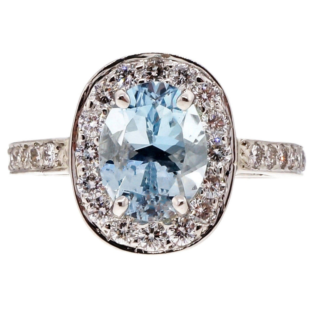 Natural Aquamarine Diamond Platinum Halo Ring