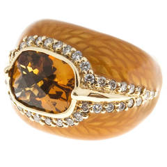 Haggai Enamel Citrine Full Cut Diamond Gold Ring
