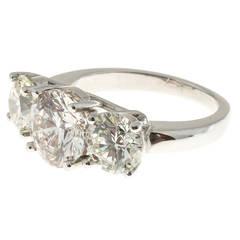 Peter Suchy Three-Diamond Ideal-Cut Platinum Ring