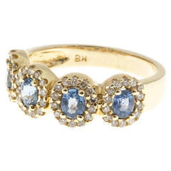 Four Oval Sapphire Diamond Gold Ring
