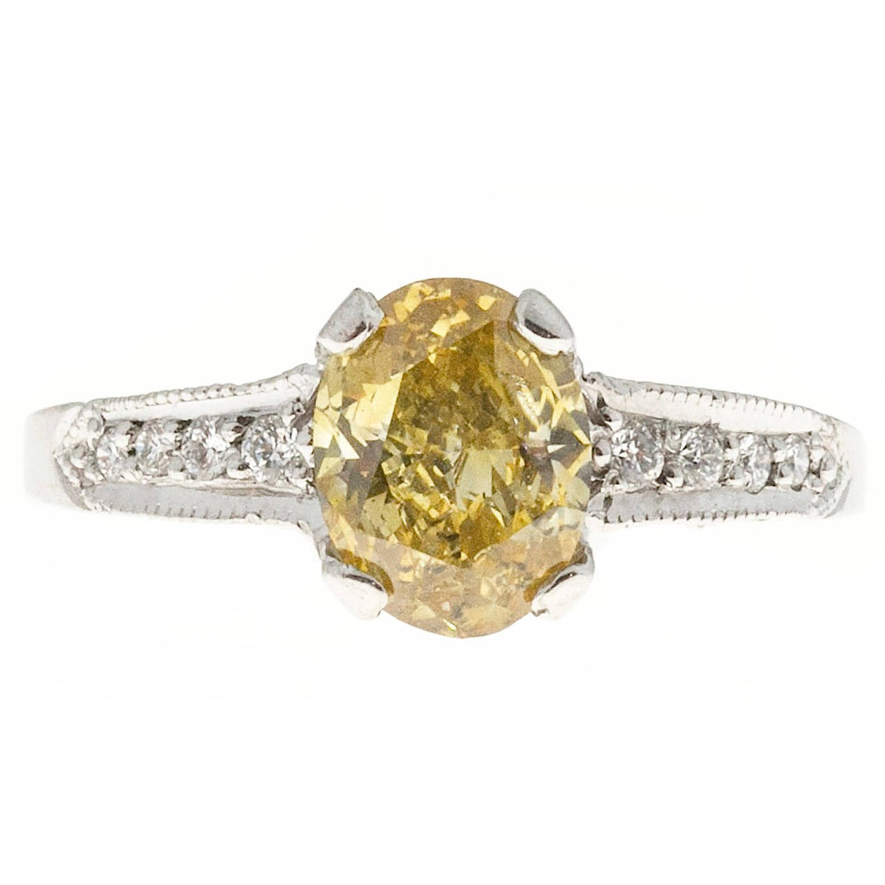 Oval Fancy Orange Yellow Diamond Platinum Micro Pave Ring For Sale at 1stdibs