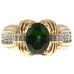 Green Tourmaline Full Cut Diamond Gold Ring
